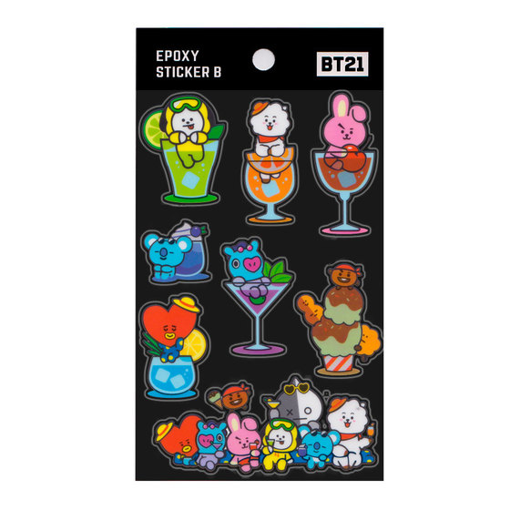Наклейки BT21 Group Black Ver. / BTS